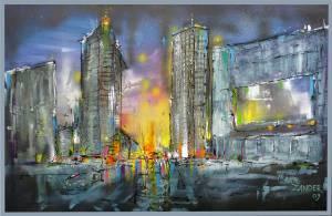 Potsdamer Platz (Acryl und Öl) auf Leinwand 100 x 150 cm
